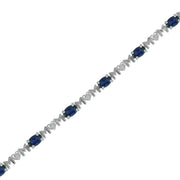Created Blue Sapphire 'Mom' Bracelet in Silver