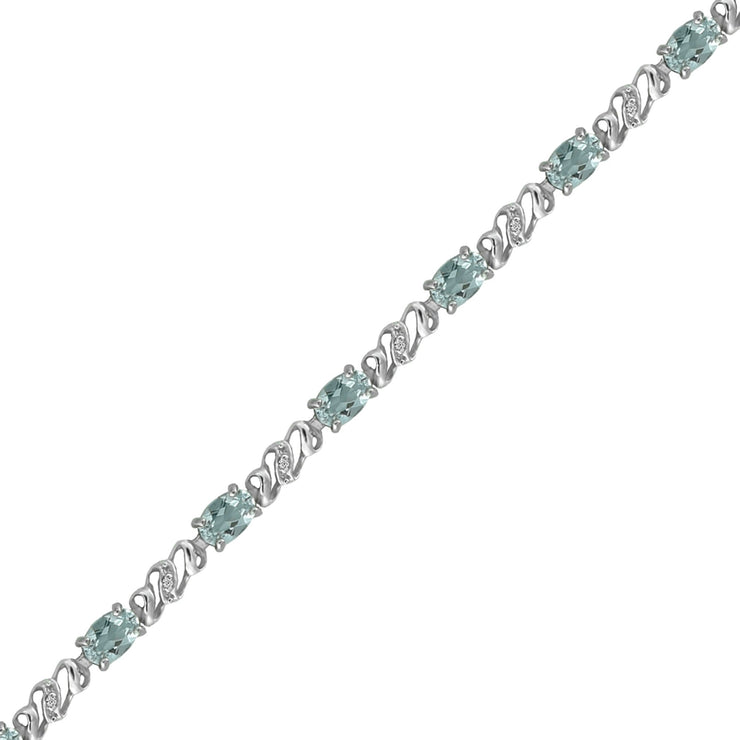 Aquamarine and Diamond Fashion Bracelet in 10K White Gold