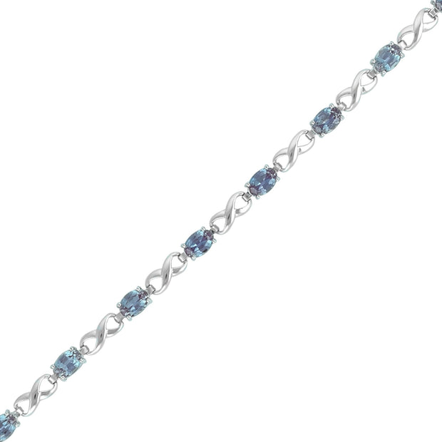 Created Alexandrite Infinity Bracelet in Silver