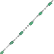 Emerald and Diamond Accent Tennis Bracelet in Silver