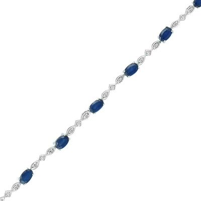 "Sapphire Tennis Bracelet - 7.25"" Sapphire and Diamond Classic  Bracelet in Silver"