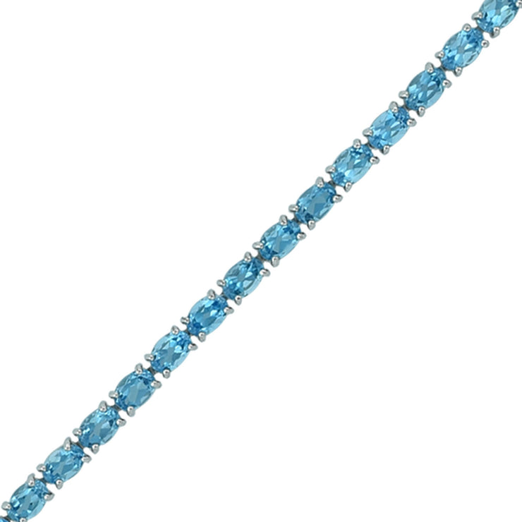Blue Topaz and Diamond Bracelet with Flower Lock