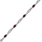 Ruby and Diamond Fashion Bracelet in 10K White Gold