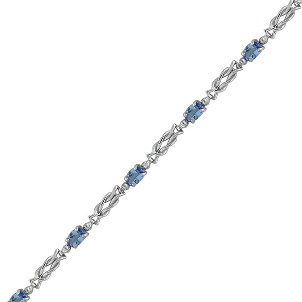 Tanzanite and Diamond Fashion Bracelet in 10K White Gold
