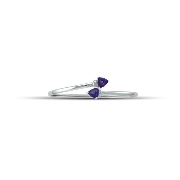 Amethyst Bracelet - Flex Bangle with Amethyst and Diamond in Silver