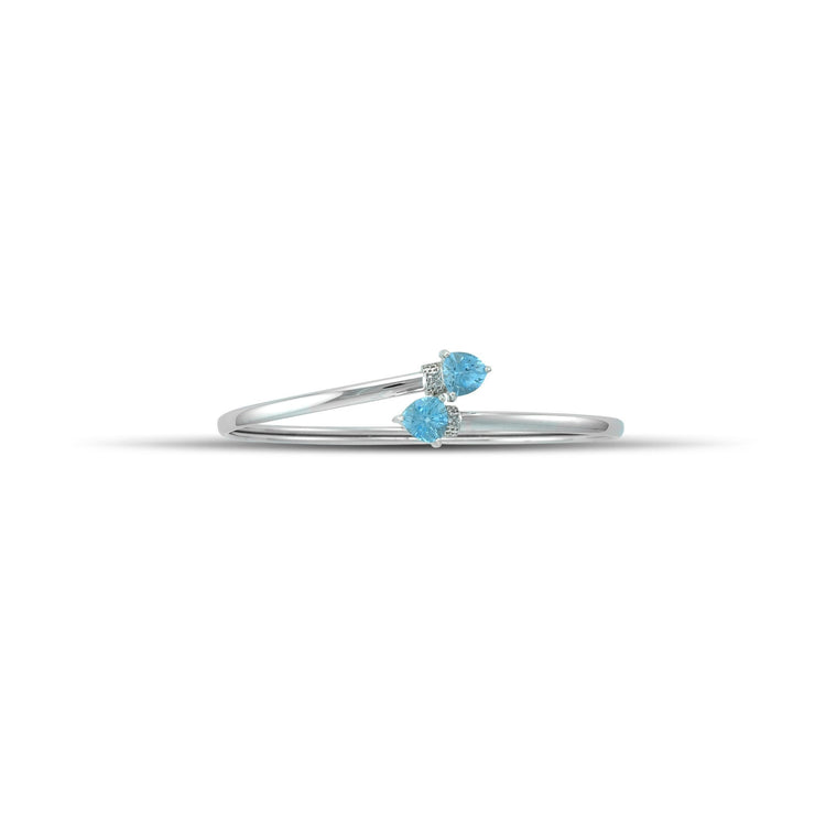 Blue Topaz Bracelet - Flex Bangle with Blue Topaz and Diamond in Silver