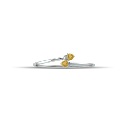 Citrine Bracelet - Flex Bangle with Citrine and Diamond in Silver