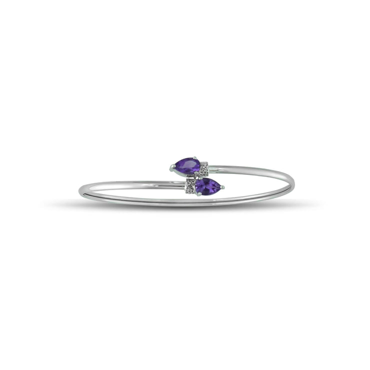 Amethyst and Diamond Flex Bypass Bangle in 10K White Gold