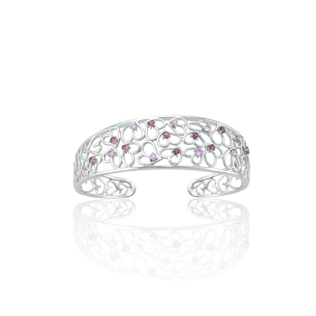 Created Pink Sapphire and Created Ruby Cuff Bangle