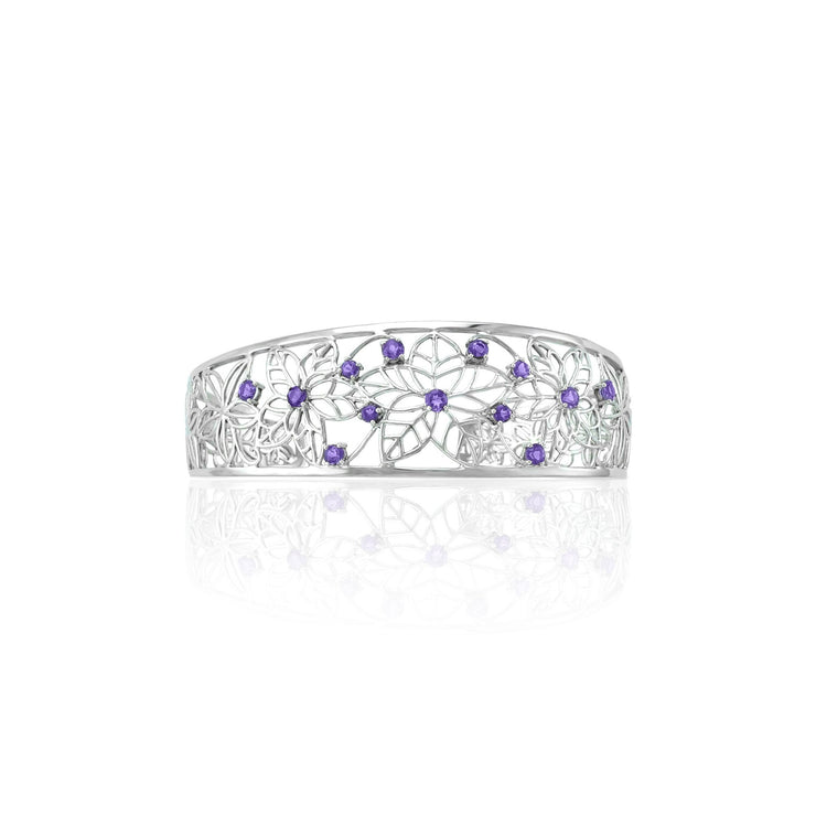 Amethyst Flower Cuff Bangle in Sterling Silver