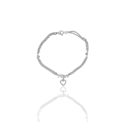 Diamond Acccent 'Mom' Chain Bracelet in Silver