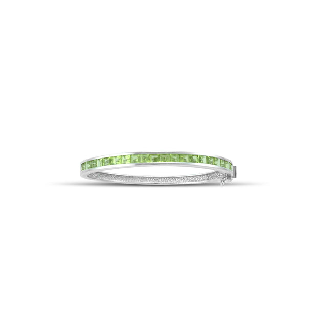 Channel Set Peridot Bangle in Sterling Silver