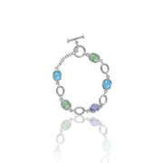 Link Bracelet - Blue Topaz, Pink and Green Amethyst Bracelet in Silver