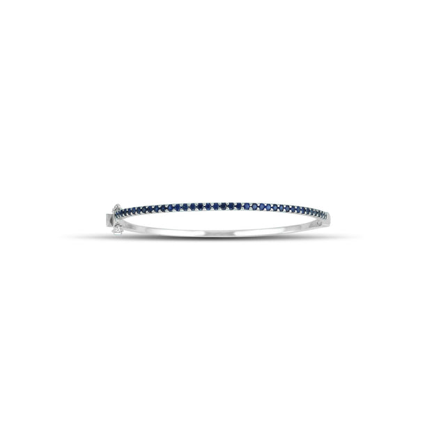 Created Blue Sapphire Fashion Bangle in Sterling Silver