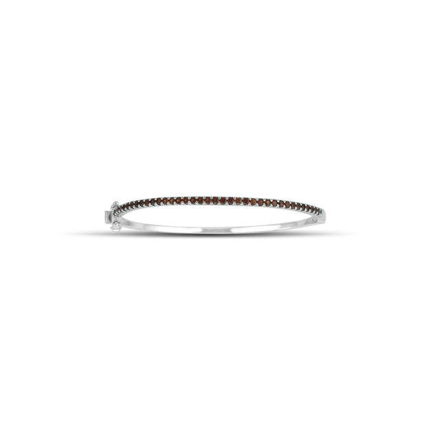 Round Garnet Fashion Bangle in Sterling Silver