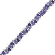 Multi Amethyst Fashion Tennis Bracelet in Silver