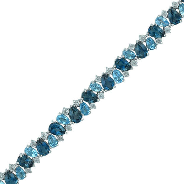 Multi Blue Topaz Fashion Tennis Bracelet in Silver