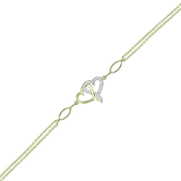 Diamond Accent Fashion Heart Bracelet in 10K Yellow Gold