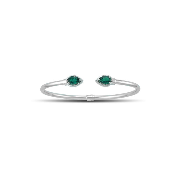 Created Emerald and Diamond Silver Hinged Bangle