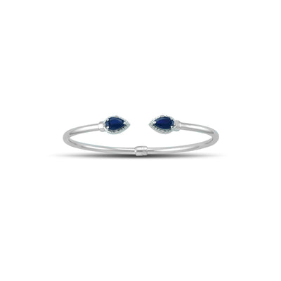 Created Sapphire and Diamond Silver Hinged Bangle