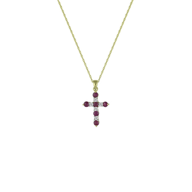 Ruby and Diamond Accent Cross Pendant in 10K Yellow Gold
