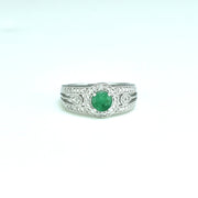 Genuine Emerald and Diamond Accent Fashion Ring in Silver