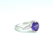 Amethyst and Diamond Fashion Ring in Sterling Silver