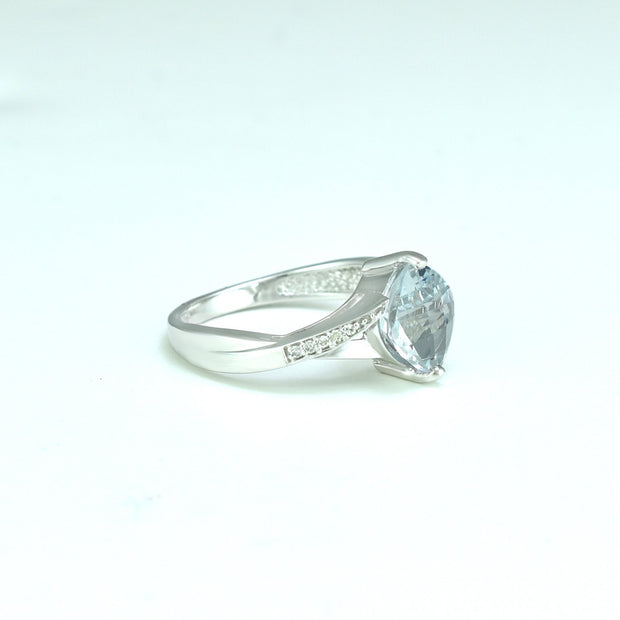 Aquamarine and Diamond Fashion Ring in Sterling Silver