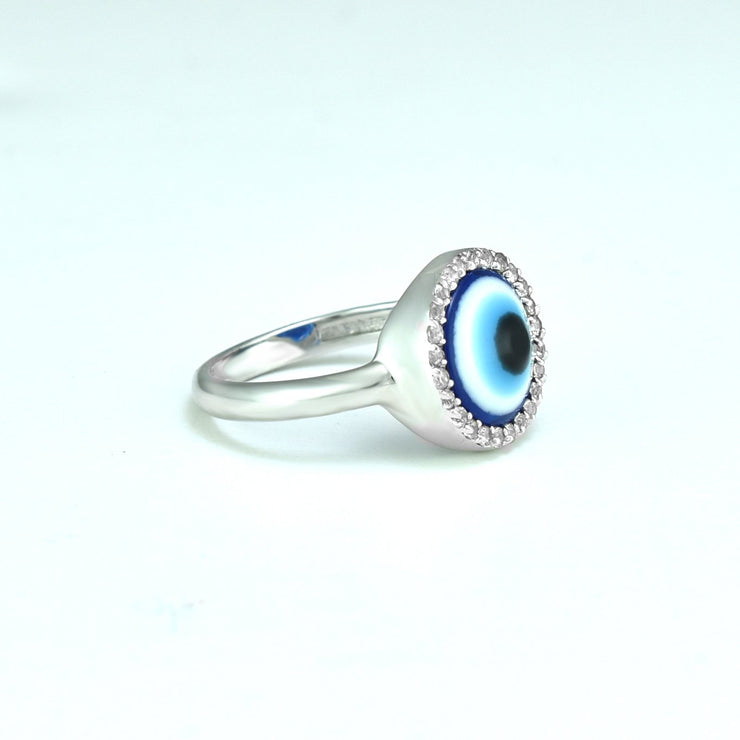 Cubic Zirconia and Enamel Evil Eye Ring in Silver
