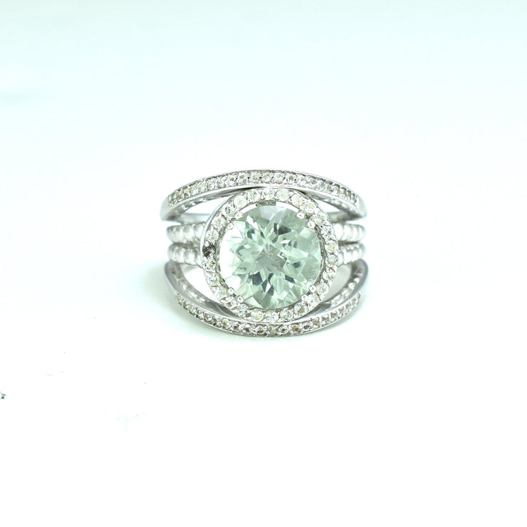Green Amethyst and Created White Sapphire Silver Ring