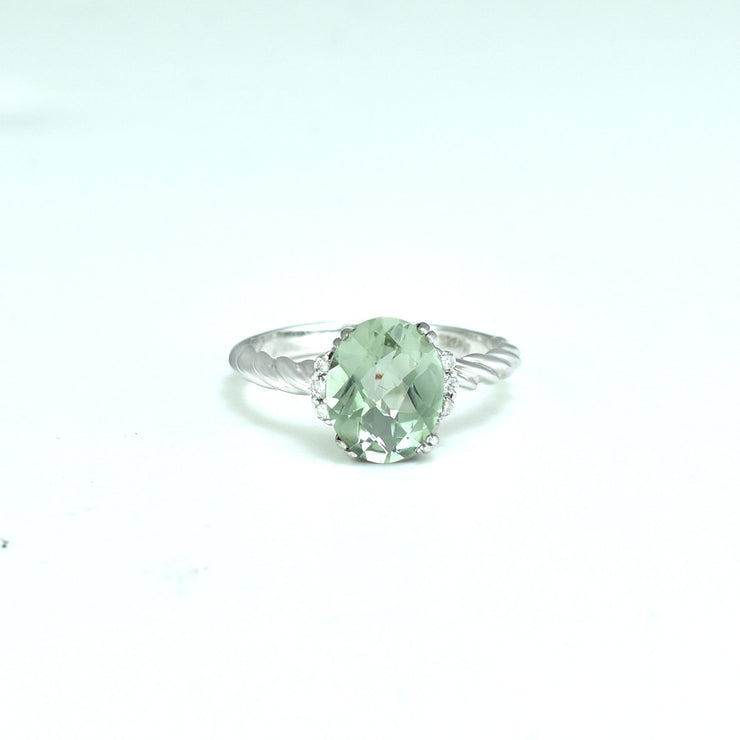 Green Amethyst and Diamond Accent Fashion Ring in Silver