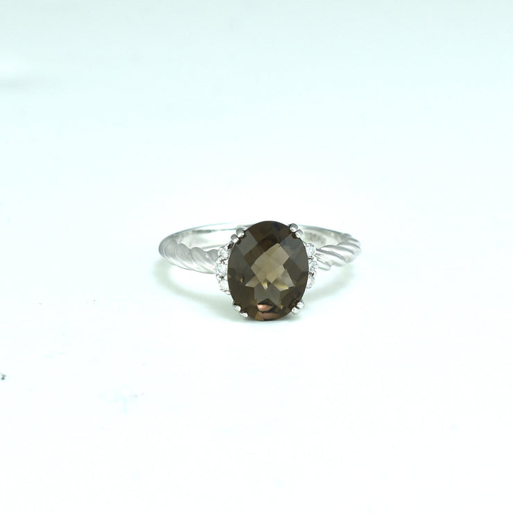 Smokey Topaz and Diamond Accent Fashion Ring in Silver