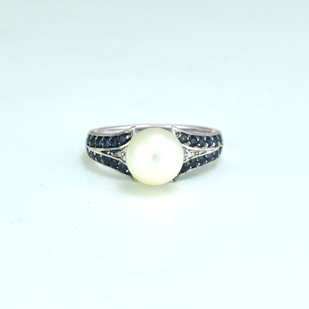Freshwater Pearl, Sapphire and Diamond Ring in Sterling Silver