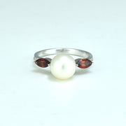 Freshwater Pearl, Garnet and Diamond Ring in Sterling Silver