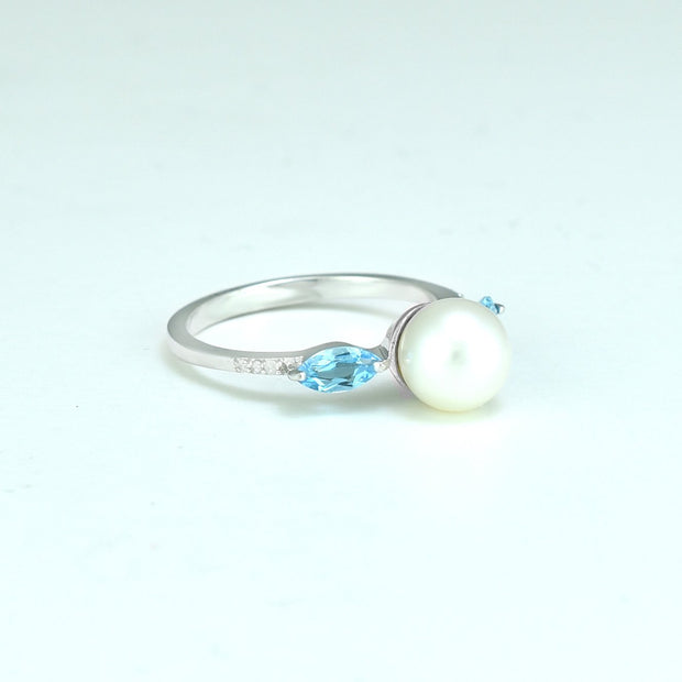 Freshwater Pearl, Blue Topaz and Diamond Ring in Sterling Silver