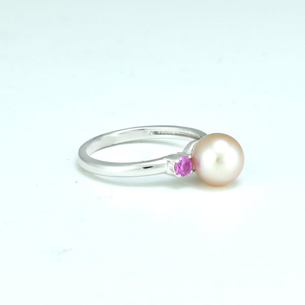 Freshwater Pearl and Created Pink Sapphire Ring in Sterling Silver
