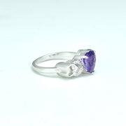 Amethyst and Diamond Heart Ring in Sterling Silver
