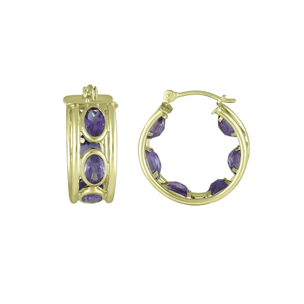 Amethyst Huggy Hoop Fashion Earrings in 10K Yellow Gold