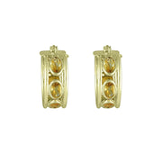 Citrine Huggy Hoop Fashion Earrings in 10K Yellow Gold