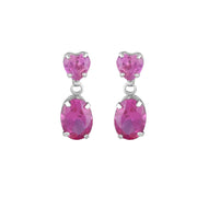 10K White Gold Dangle Earrings with Created Pink Sapphire