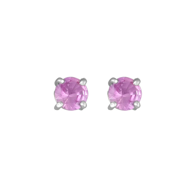 10K White Gold Fashion Studs with Created Pink Sapphire