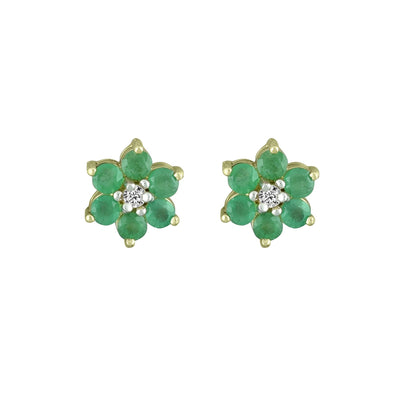 Emerald and Diamond Accent Flower Earrings in 10K Yelllow Gold