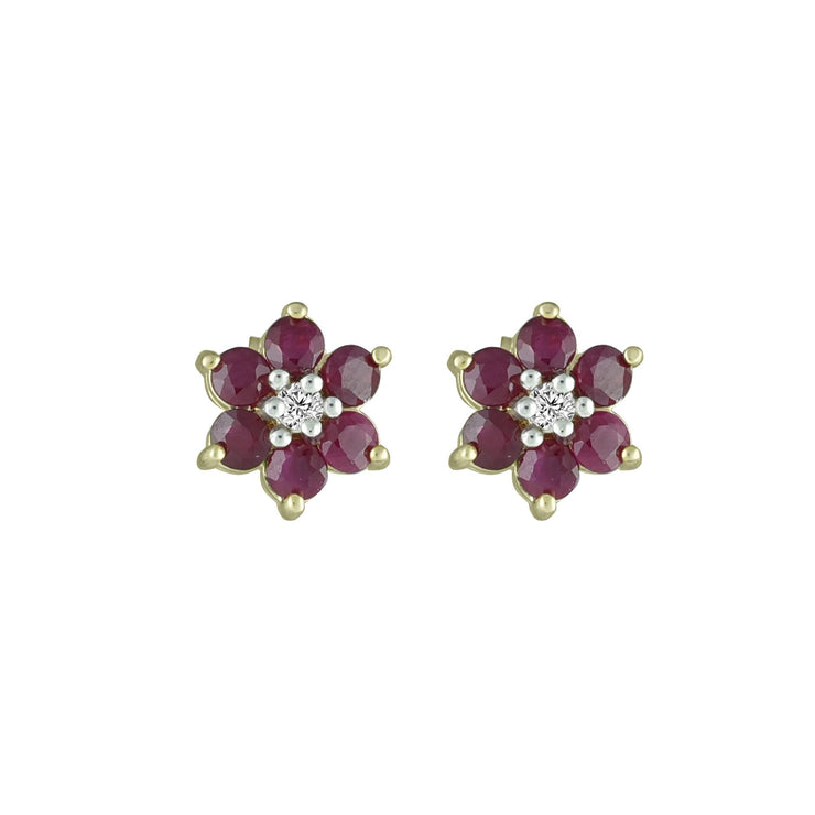 Ruby and Diamond Accent Flower Earrings in 10K Yelllow Gold