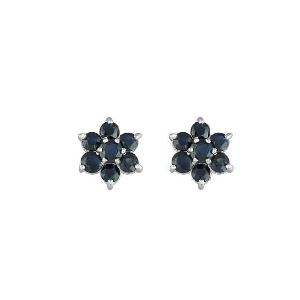 Genuine Sapphire Fashion Stud Earrings in 10K White Gold