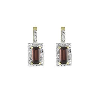 Garnet and Diamond Fashion Earrings in 10K Yellow Gold