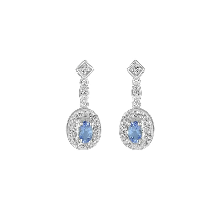 Tanzanite and Diamond Fashion Dangle Earrings in 10K White Gold
