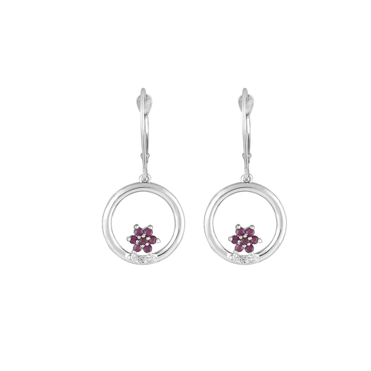Ruby and Diamond Dangle Earrings in 10K White Gold