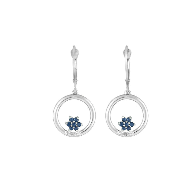 Sapphire and Diamond Dangle Earrings in 10K White Gold