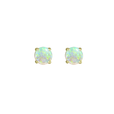 Genuine Opal Stud Earrings in 10K Yellow Gold