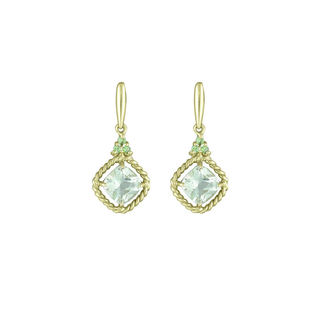 10K Yellow Gold Earrings with Green Amethyst and Tsavorite
